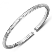 Women's 999 Sterling Silver Flower Carved Cuff Bracelets 25g Weight for Wedding Gift