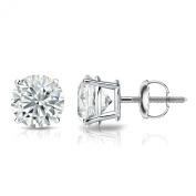Platinum 4-Prong Basket Round Diamond Stud Earrings (1/6 - 2 ct, J-K, I1-I2) Screw-Backs