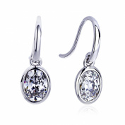 7.5mm Sterling Silver Oval CZ Hook Dangle Earrings, Platinum Plated