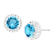 Crystaluxe Birthstone Earrings with Aquamarine. Crystals in Sterling Silver