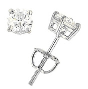 1.09 Carats Total Weight Round Diamond Stud Earrings
