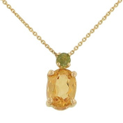 prong Set Round Peridot (.07ct) and Oval Citrine (1.21ct) Pendant 46cm Flat Cable Chain Necklace with Lobster Clasp Gem 1.28cttw