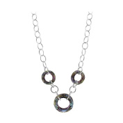 925 Sterling Silver Faceted Round Light Vitrail. Elements Necklace 41cm
