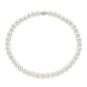 """14k White Gold 9.5-10.5 mm Freshwater Pearl High Lustre Necklace 18"""", AAA Quality."""