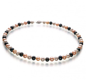 Multicolor 6-7mm AA Quality Freshwater 925 Platinum Plated Sterling Silver Pearl Necklace