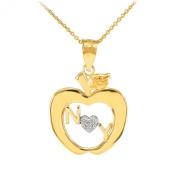 14k Gold New York Big Apple Diamond Pendant Necklace