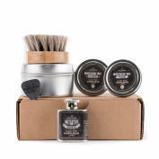 Basic Beard Care Kit - Initiative Beard Oil Flask | Fresh Citrus Scent | Moustache Wax SET | Horse-Hair Beard Oil Brush