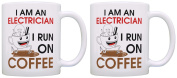 Electrician I am an Electrician I Run on Coffee Coworker 2 Pack Gift Coffee Mugs Tea Cups White