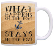 Sailing Gift What Happens on the Boat Funny Boating Sailing Gag Gift Coffee Mug Tea Cup Sand