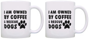 Dog Lover Gift Owned by Coffee and Rescue Dogs Coworker 2 Pack Gift Coffee Mugs Tea Cups White