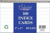 iScholar Wirebound Index Cards, White, 7.6cm x 13cm , 50 Cards