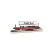 Bachmann 526 Flat Car with 35 Ribbed Piggyback Trailer - SANTA FE with NAVAJO FREIGHT LINES TRAILER Multi-Coloured