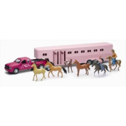 New Ray SS-15395 Pink Pick Up with Fifth Wheel Horse Trailer Playset, Pack of 6