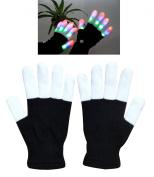 W-plus Flashing Finger Lighting Gloves LED Colourful Rave Gloves 7 Colours Light Show, Light-up Toys, Christmas Gift