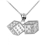 Fine 925 Sterling Silver Dice Charm Pendant Necklace