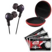JVC HA-FX5 Gumy PLUS Headphones (Black) with Case & 3 Microfiber Cloths