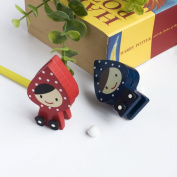 Blancho Bedding CH002-REBL Lovely Doll - Card Holder - Wooden Clips - Wooden Clamps - Animal Clips