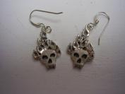 Hotrod Rocks HRR-017E Flaming Skull Earrings