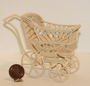 Dollhouse Miniature Ornate Victorian Cream Wire Baby Buggy