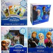 Disney Frozen 4 Games Value Set - Playing Cards + Popper Jr. Game + Lenticular Puzzle + Regular Paper Puzzle