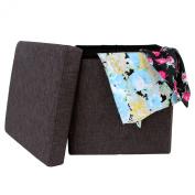 SONGMICS Linen-like Storage Ottoman Cube Folding Footrest Stool Charcoal Brown ULOT10K
