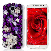 Spritech(TM) 3D Handmade Fashion Girl Woman Extreme Luxury Bling Full Diamond Design Case Beautiful Flower Decor Clear Hard Caver Case for Samsung Galaxy Mega 6.3 i9200