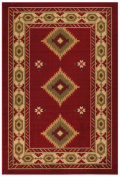 Southwestern Runner and Area Rug Dark Red Printed Slip Resistant Rubber Back