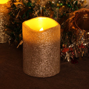 Silver Glitter Led Candle With Timer,7.6cm x 10cm