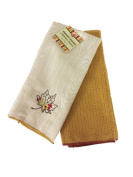 Ritz Harvest Collection Embroidered Microfiber Kitchen Towels, Set of 2