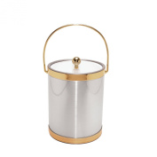 Mr. Ice Bucket Brushed Ice Bucket with Gold Bands, 4.7l, Silver