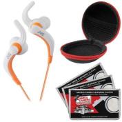 JVC HA-ETX30 Inner Ear Waterproof Headphones (White) with Case & 3 Microfiber Cloths