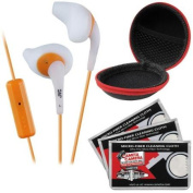 JVC HA-ENR15 Gumy Sport Headphones with Remote & Mic (White) with Case & 3 Microfiber Cloths