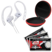 JVC HA-ECX20 Inner Ear Headphones (White) with Case & 3 Microfiber Cloths