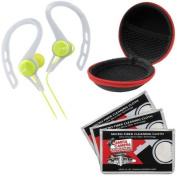 JVC HA-ECX20 Inner Ear Headphones (Green) with Case & 3 Microfiber Cloths