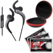 JVC HA-ETR40 Inner Ear Headphones with Remote & Mic (Black) with Case & 3 Microfiber Cloths