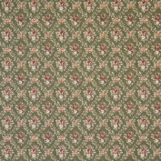 Designer Fabrics F918 140cm . Wide Green And Burgundy Floral Diamond Tapestry Upholstery Fabric