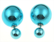 Best Desu 17962ST Double Sided Pearl Stud Earrings Shiny Teal