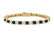 Fine Jewellery Vault UBBR14YSQPR300DBD Black and White Diamond Tennis Bracelet with 3 CT Diamonds