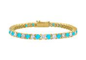 Fine Jewellery Vault UBBRAGVYRD131400CZBT CZ and Created Blue Topaz Tennis Bracelet in 18K Yellow Gold Vermeil. 4CT. TGW. 18cm .