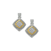 Fine Jewellery Vault UBNER40889TT14D April Birthstone Diamond Square Earrings in Two Tone Gold 0.75 CT TDW