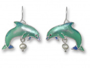 Zarah 21-02-Z1 Dolphin With Pearl Silver Plate Earrings