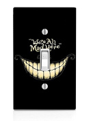 Cheshire Cat We're All Mad Here Quote Design Print Image Light Switch Plate