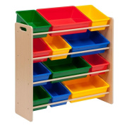 High-quality, Kids Toys Storage Organiser with 12 Bins in Natural, Sturdy and Durable Wood Frame