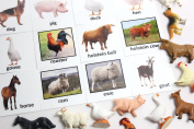 Montessori Animal Match - Miniature Farm Animal Toy Figurines with Matching Cards - 2 Part Cards. Montessori learning toy, language materials