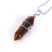 BRCbeads Gorgeous Faceted Natural Tiger Eye Handmade Wire Wrap Healing Point Chakra Pendant 40x10mm 1pcs per Bag for Necklace Making