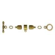 Beadsmith Kumihimo Antique Brass Plated Finding Set, 6mm Bullet End Cap
