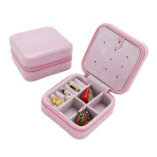 iWonow® Mini Travel Jewellery Box Leather Jewel Storage Organiser with Zipper and Mirror Pink