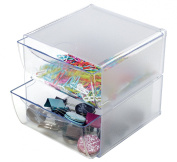 Deflecto Stackable Cube Organiser, Two Drawer