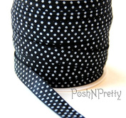 5 YARDS 1.6cm Stretch Print Fold Over Elastics FOE - Black white dots