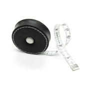 Black, Leather-Covered Retractable Tape Measure, 150cm , Made in Germany